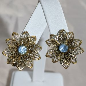Vintage Blue Rhinestone Silver Flower Earrings